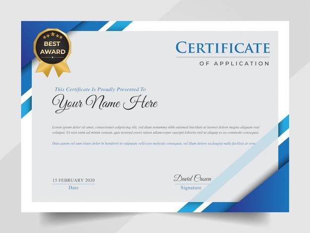 Certificado profissional de negócios azul