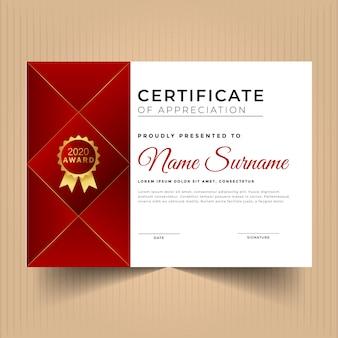 Certificado vermelho geométrico de agradecimento