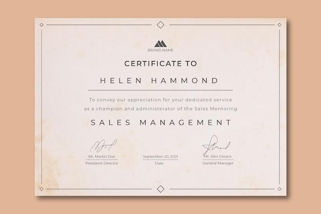 Certificado vintage minimalista de gestão de vendas