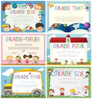 Certificados com educação tema ilustração de fundo