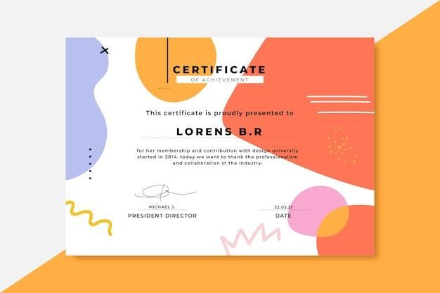 Certificados de design colorido desenhado à mão
