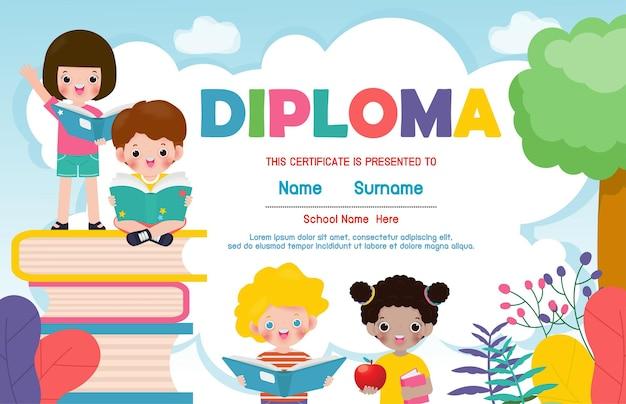 Certificados de jardim de infância e ensino fundamental, certificado de diploma para crianças em idade pré-escolar