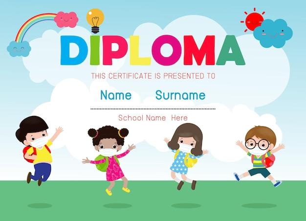 Certificados de jardim de infância e ilustração elementar