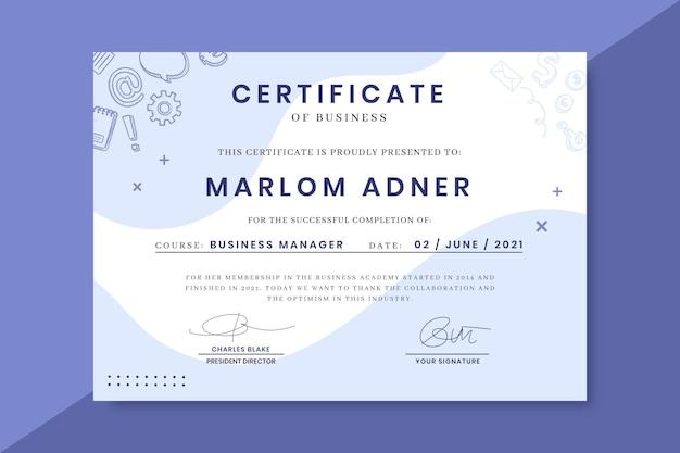 Certificados de monocolor de negócios doodle