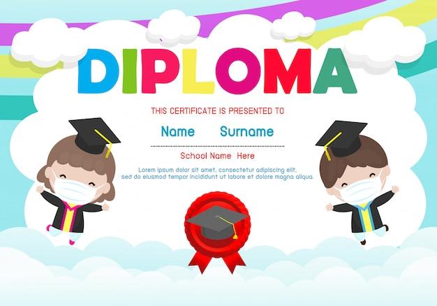 Certificados do jardim de infância e do ensino fundamental, modelo de design de plano de fundo de certificado de diploma para crianças pré-escolares