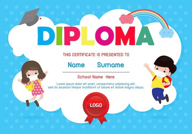 Certificados jardim de infância e elementar, certificado de pré-escolar kids diploma