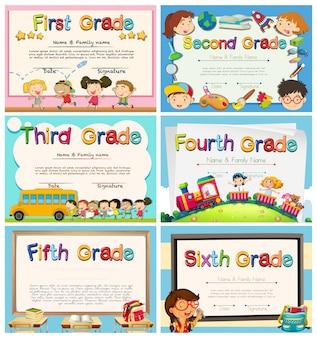 Certificados para crianças na escola primária