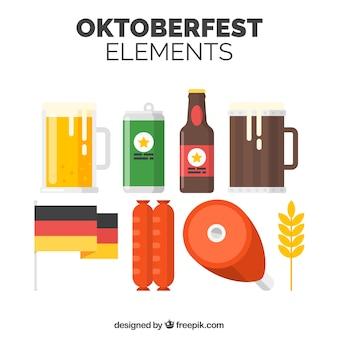 Cerveja alemã, comida e bandeira