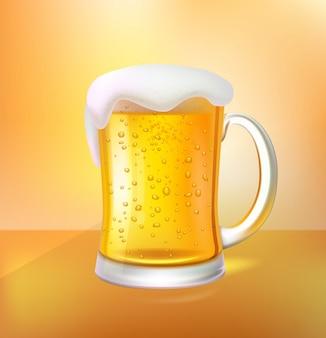 Cerveja artesanal com espuma em caneca de vidro 3d