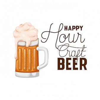 Cerveja artesanal happy hour rótulo de vidro