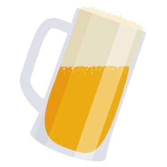 Cerveja com bolha em uma caneca de vidro em um fundo branco.