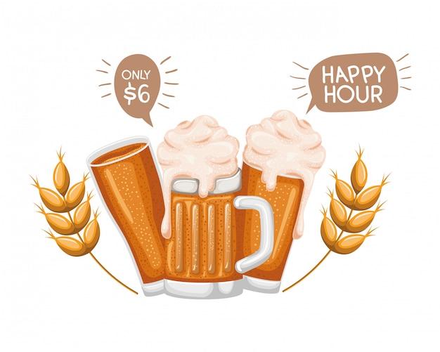 Cerveja com espuma e trigo ícone isolado