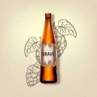 Cerveja corajosa em um anúncio de garrafa de vidro