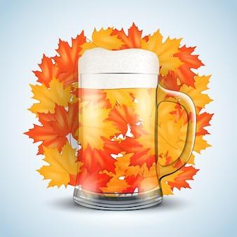 Cerveja de celebração do octoberfest. copo com cerveja e malte de grãos. folhas de outono