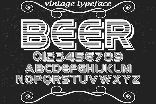 Cerveja de desenho de rótulo de alfabeto vintage