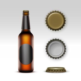 Cerveja de garrafa marrom com rótulo preto e conjunto de tampas