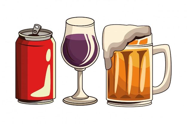 Cerveja de lata de refrigerante e coquetel