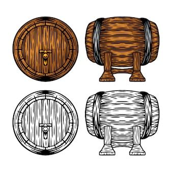 Cerveja de madeira retrô vintage e barril de vinho isolado ilustração vetorial