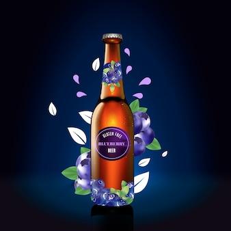 Cerveja de mirtilo em um anúncio de garrafa de vidro