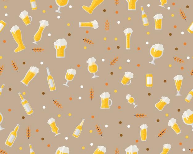 Cerveja de padrão de textura plana sem costura vector.