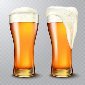 Cerveja de trigo, copo de cerveja com cerveja atraente, ilustração 3d em fundo transparente.