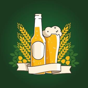 Cerveja de trigo. garrafa de cerveja e copo com cerveja e fita. orelhas de trigo e lúpulo