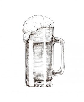 Cerveja de vidro brewery sketch ilustração vetorial