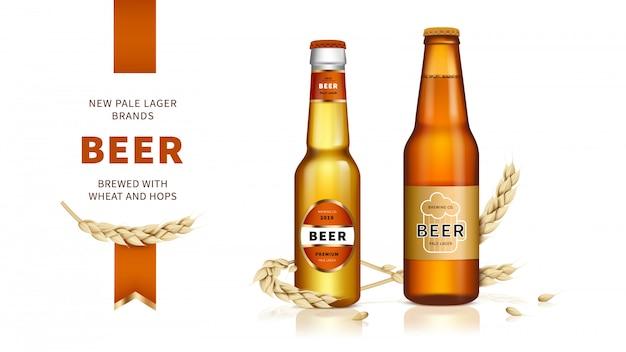 Cerveja dourada fabricada a partir de trigo e lúpulo