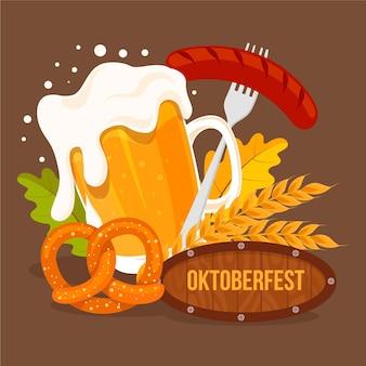 Cerveja e comida de oktoberfest de design plano