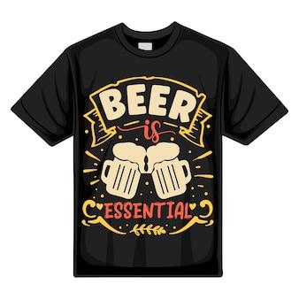 Cerveja é essencial modelo de citação de design de camiseta de vetor premium tipografia