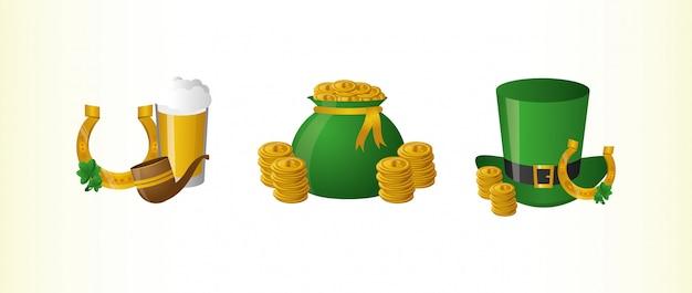 Cerveja e ferradura, saco de moedas e chapéu verde, feliz dia de são patrício