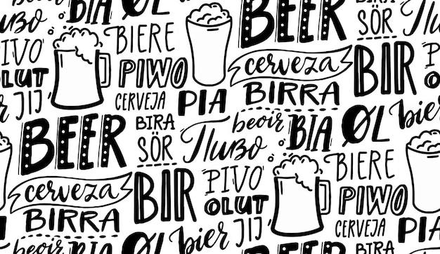 Cerveja em diferentes idiomas design de papel de parede padrão de vetor sem costura preto e branco para bares