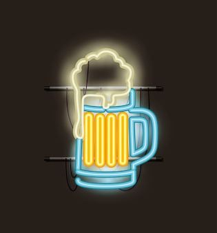 Cerveja jarra luz neon