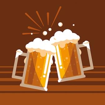 Cerveja, jarros, brinde, isolado, ícone