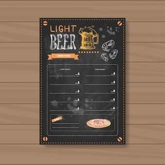 Cerveja light menu design para restaurante café bar riscado