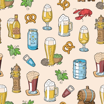 Cerveja na cervejaria cervejaria beermug ou beerbottle e dark ale ou beerbarrel no bar na festa cervejeira com álcool definir ilustração sem costura de fundo