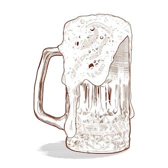 Cerveja no estilo de gravura vintage