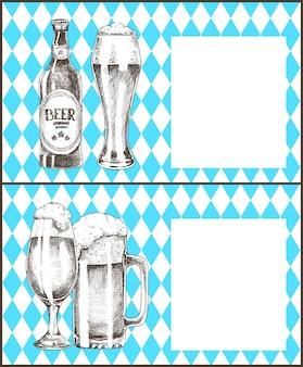 Cerveja oktoberfest com banner de moldura em branco