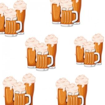 Cerveja padrão com ícone isolado de espuma