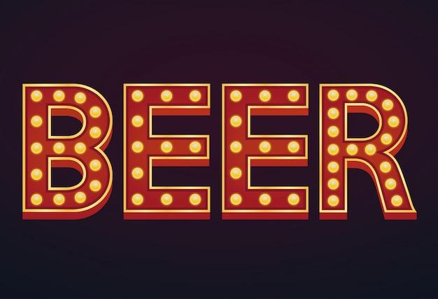 Cerveja palavra sinal letreiro lâmpada vintage