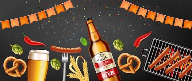 Cerveja, pretzel e salsicha grelhada