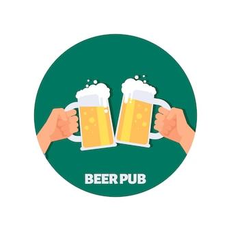 Cerveja pub vector ícone do design. duas mãos segurando copos de cerveja