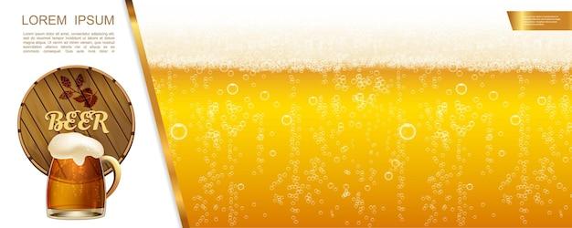 Cerveja realista com ilustração de cerveja lager