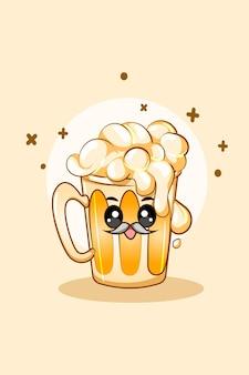 Cerveja refrigerante fofa na ilustração dos desenhos animados da oktoberfest