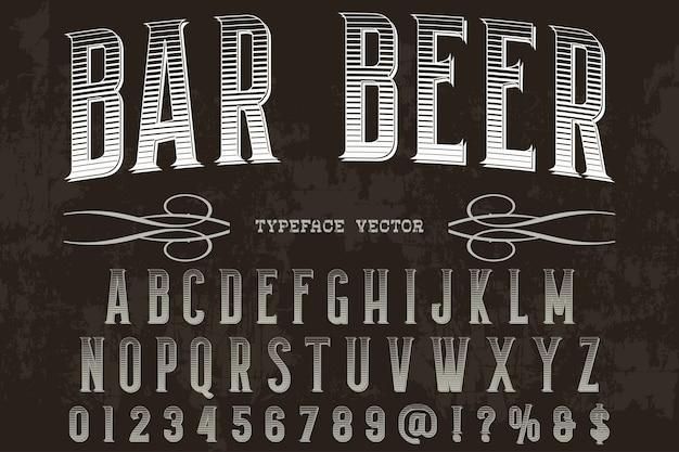 Cerveja retro da barra do projeto da etiqueta da tipografia