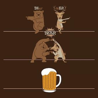 Cerveja, urso de fusão e veado
