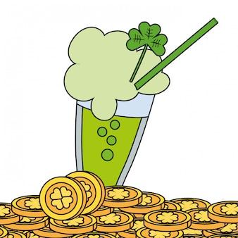 Cerveja verde com moedas de ouro