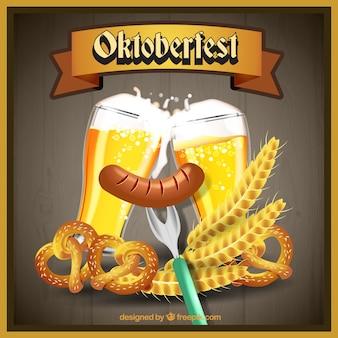 Cerveja, wurst e pretzels de mais oktoberfest