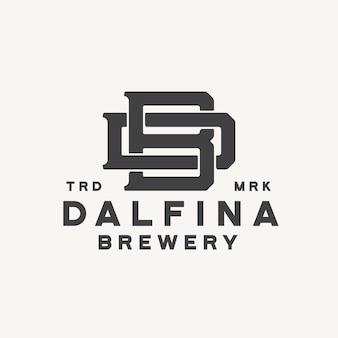 Cervejaria com logotipo do monograma letra bd