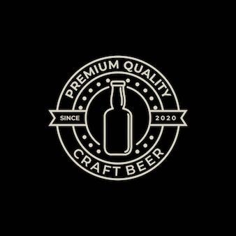 Cervejaria, modelo de design de logotipo vintage de garrafa de cerveja artesanal